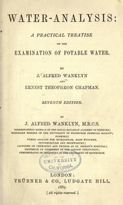 Cover of: Water-analysis: a practical treatise on the examination of potable water