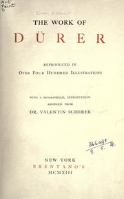 Cover of: The work of Dürer