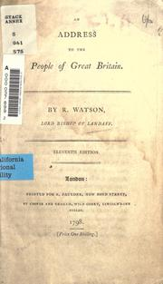 An address to the people of Great Britain by Watson, Richard