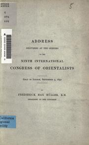Cover of: Address delivered at the opening of the ninth International Congress of Orientalists