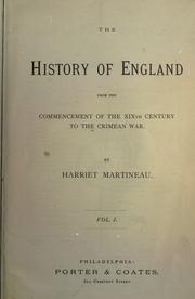 Cover of: The history of England from the commencement of the 19th century to the Crimean War