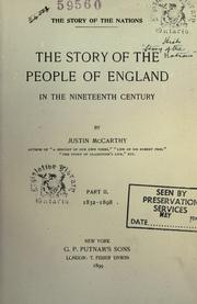 Cover of: The story of the people of England in the nineteenth century