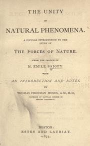 Cover of: The unity of natural phenomena | Г‰mile Saigey