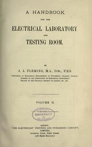 Cover of: A handbook for the electrical laboratory and testing room