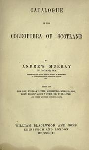Cover of: Catalogue of the Coleoptera of Scotland