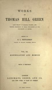 Cover of: Works of Thomas Hill Green