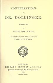 Cover of: Conversations of Dr. Döllinger | Luise von Kobell