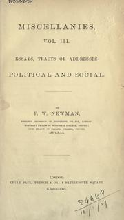 Cover of: Miscellanies. | Francis William Newman