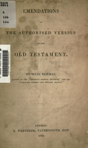 Cover of: Emendations of the authorised version of the Old Testament