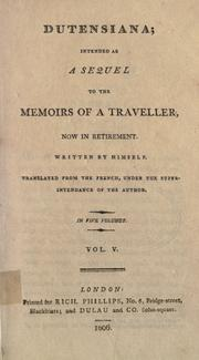 Cover of: Memoirs of a traveller, now in retirement | L. Dutens