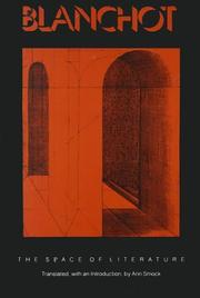 "Cover of: The Space of Literature: A Translation of ""L'Espace litteraire"""