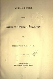Cover of: Annual report of the American Historical Association