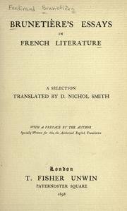 Cover of: Brunetiere's essays in French literature