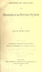 Cover of: Synopsis of lectures upon diseases of the nervous system