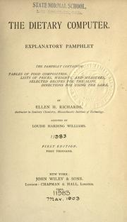 Cover of: The dietary computer. Explanatory pamphlet