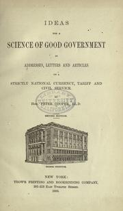 Cover of: Ideas for a science of good government