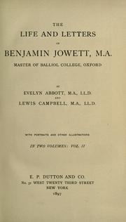 Cover of: The life and letters of Benjamin Jowett