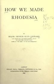 Cover of: How we made Rhodesia
