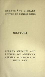 Cover of: Burke's speeches and letters on American affairs