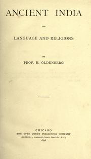 Cover of: Ancient India: its language and religions