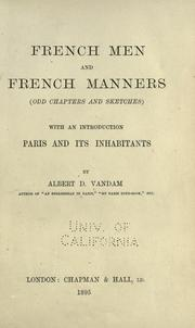 Cover of: French men and French manners