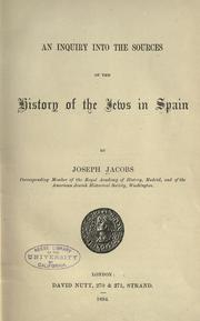 Cover of: An inquiry into the sources of the history of the Jews in Spain