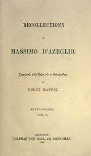 Cover of: Recollections of Massimo d'Azeglio