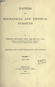 Cover of: Papers on mechanical and physical subjects