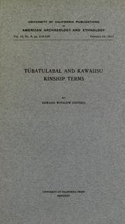 Cover of: Tübatulabal and Kawaiisu kinship terms