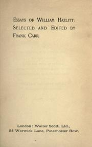Cover of: Essays of William Hazlitt