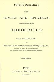 Cover of: The idylls and epigrams commonly attributed to Theocritus