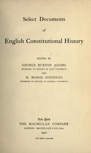 Cover of: Select documents of English constitutional history