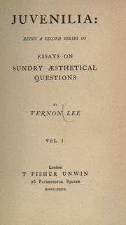 Cover of: Juvenilia: being a second series of essays on sundry æsthetical questions