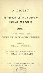 Cover of: A digest of the results of the census of England and Wales in 1901