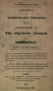 Cover of: An elementary treatise on the application of the algebraic analysis to geometry