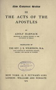 Cover of: New Testament studies. III: The Acts of the apostles