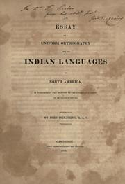 Cover of: An essay on a uniform orthography for the Indian languages of North America