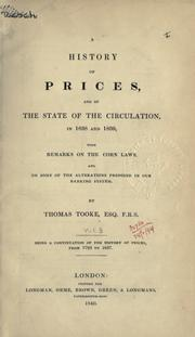 Cover of: A history of prices, and of the state of circulation
