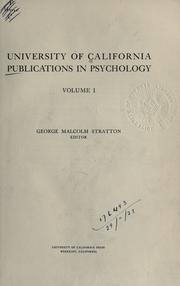 Cover of: University of California publications in psychology