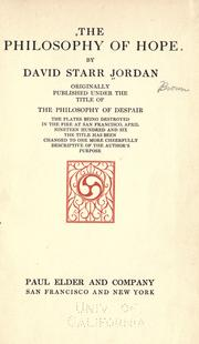 Cover of: The philosophy of hope