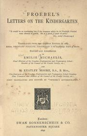 Cover of: Letters on the kindergarten