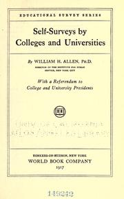 Cover of: Self-surveys by colleges and universities | Allen, William H.
