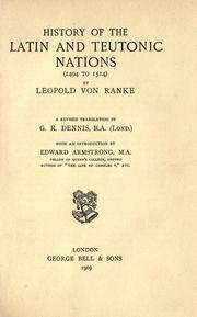 Cover of: History of the Latin and Teutonic nations (1494 to 1514)