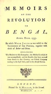 Cover of: Memoirs of the revolution in Bengal | Campbell, John