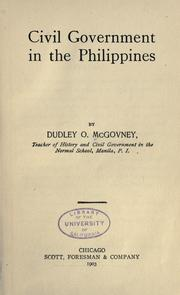 Cover of: Civil government in the Philippines