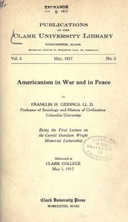 Cover of: Americanism in war and in peace