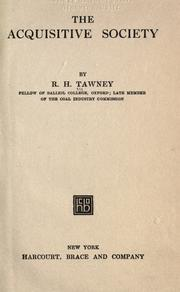 The acquisitive society by Richard H. Tawney