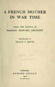 Cover of: A French mother in war time