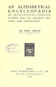 Cover of: An alphabetical encyclopædia of institutions, persons, events, etc., of ancient history and geography