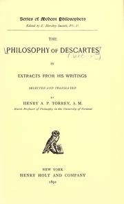 Cover of: The philosophy of Descartes in extracts from his writings